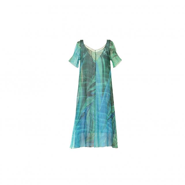 EBRU PATTERNED SILK DRESS