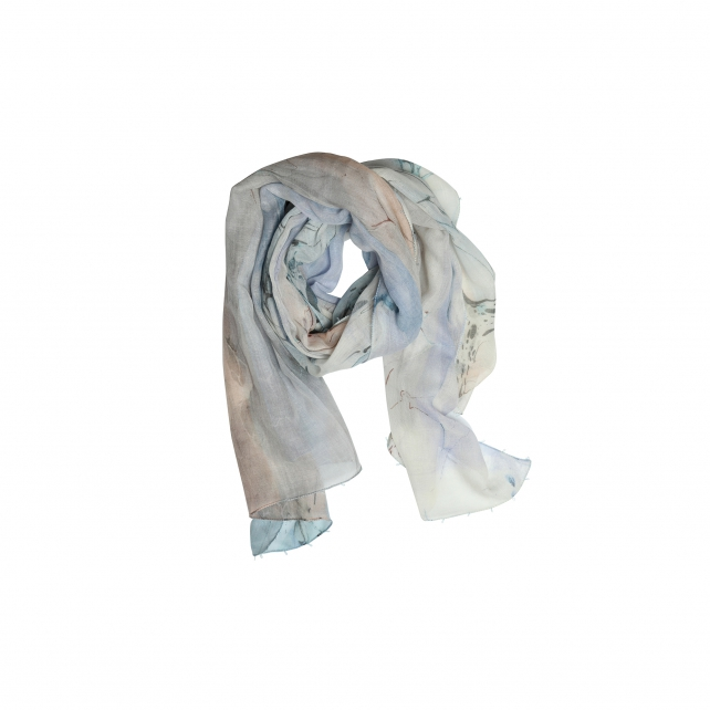 EBRU PATTERNED WOOL SCARF