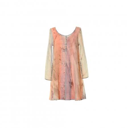 Ebru Patterned Long Sleeved Wool Dress