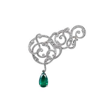 Emerald Cevher Brooch