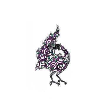 Yakut ve Zümrüt Tavus Kuşu Broş