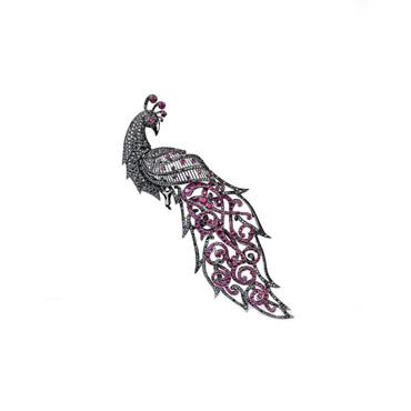 Yakut Tavus Kuşu Broş