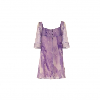 EBRU PATTERNED TREE QUARTE SLEEVE WOOL DRESS