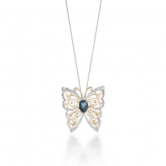 LONDON BLUE TOPAZ HOWTHORN BUTTERFLY NECKLACE