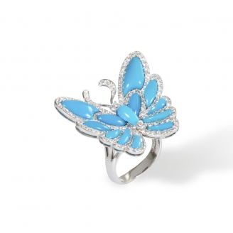 TURQUOISE HOWTHORN BUTTERFLY RING